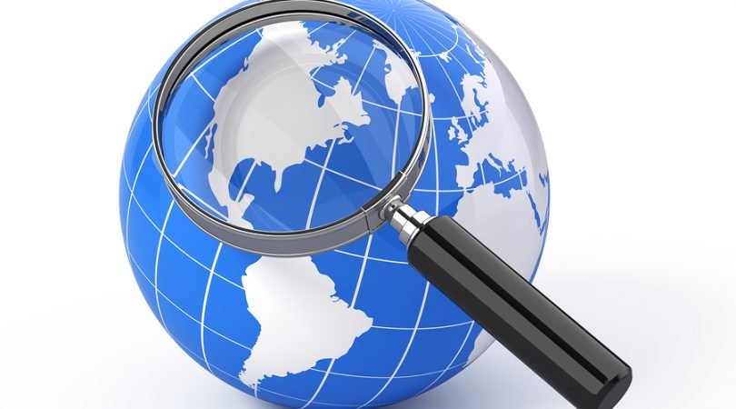 3d icon search – earth globe with magnify glass
